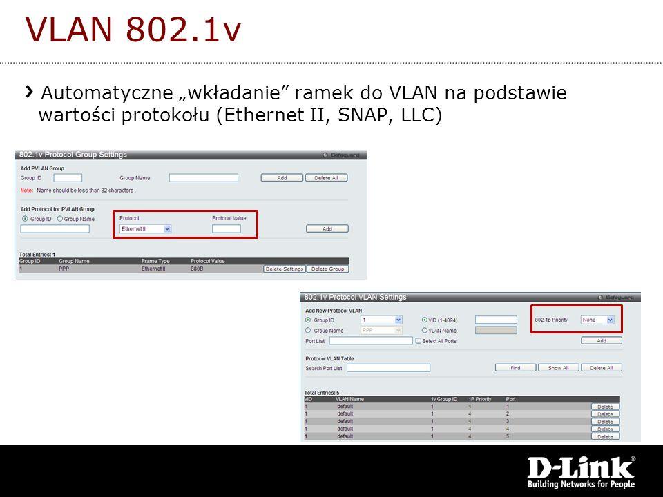 VLAN 802.1v Automatyczne wkładanie ramek do VLAN na podstawie wartości protokołu (Ethernet II, SNAP, LLC)
