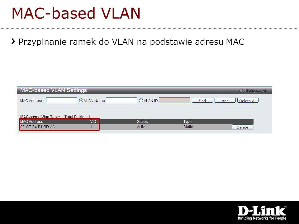 MAC-based VLAN Przypinanie ramek do VLAN na podstawie adresu MAC