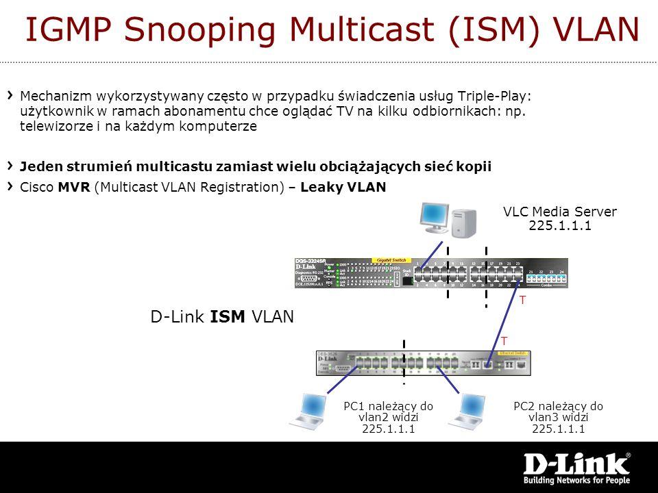 IGMP Snooping Multicast (ISM) VLAN Mechanizm wykorzystywany często w przypadku świadczenia usług Triple-Play: użytkownik w ramach abonamentu chce oglą