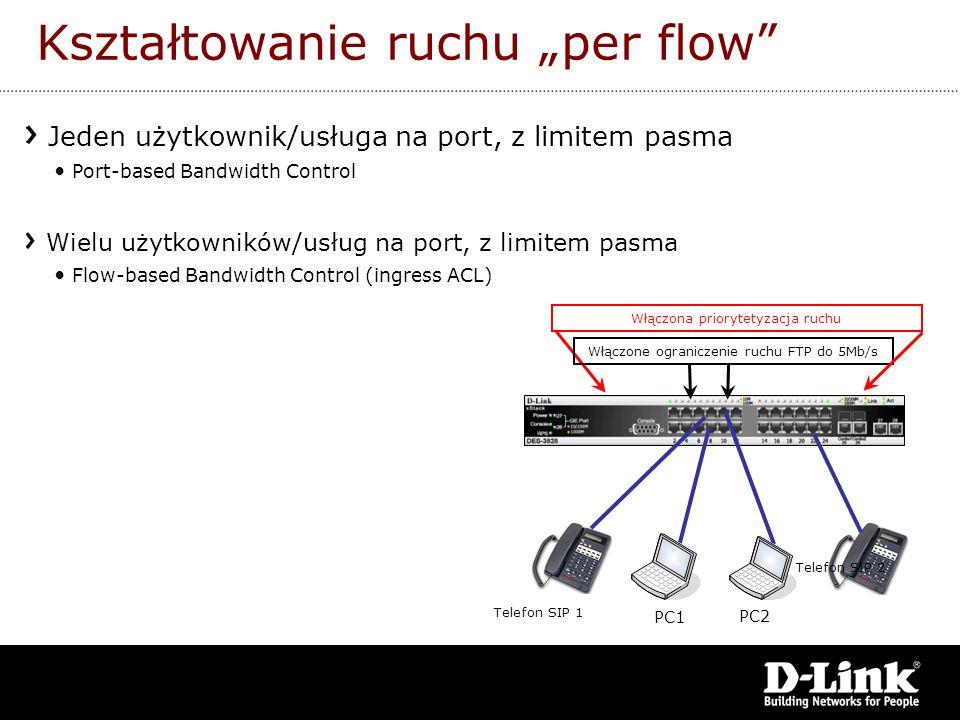 Kształtowanie ruchu per flow Jeden użytkownik/usługa na port, z limitem pasma Port-based Bandwidth Control Wielu użytkowników/usług na port, z limitem