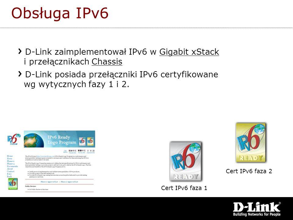 Obsługa IPv6 D-Link zaimplementował IPv6 w Gigabit xStack i przełącznikach Chassis D-Link posiada przełączniki IPv6 certyfikowane wg wytycznych fazy 1