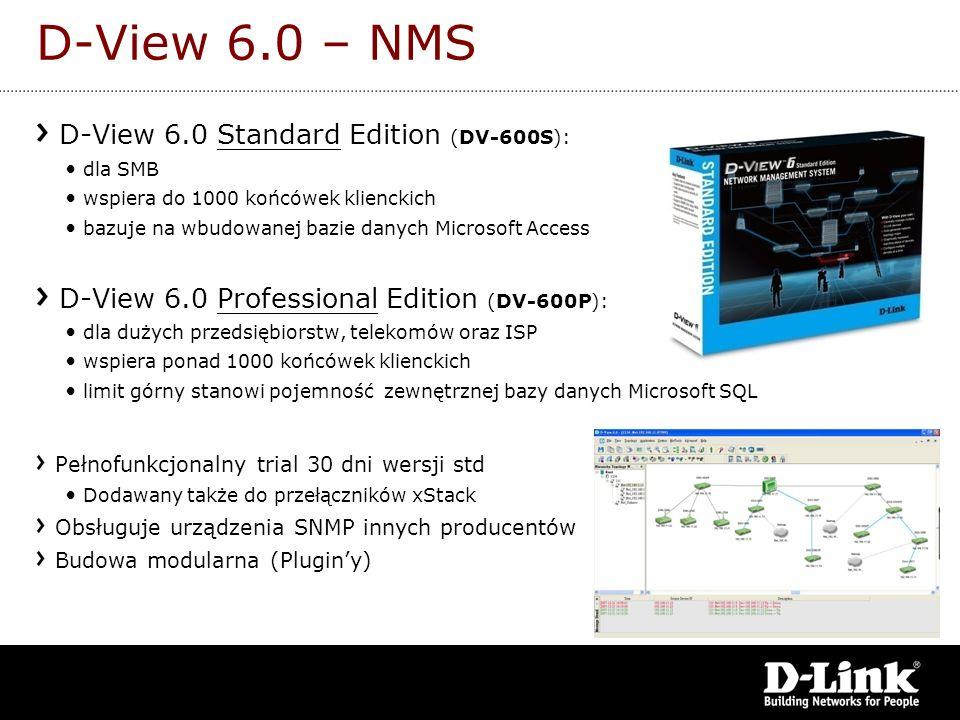 D-View 6.0 – NMS D-View 6.0 Standard Edition (DV-600S): dla SMB wspiera do 1000 końcówek klienckich bazuje na wbudowanej bazie danych Microsoft Access