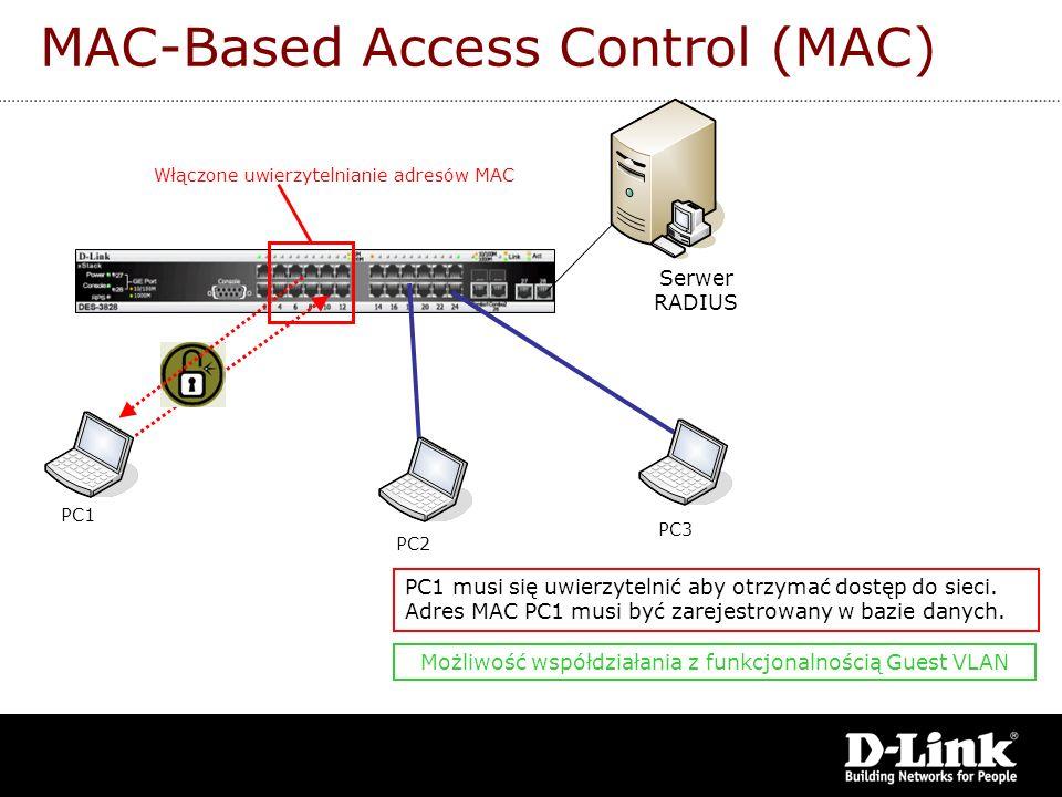 MAC-Based Access Control (MAC) Włączone uwierzytelnianie adresów MAC PC1 PC2 PC3 PC1 musi się uwierzytelnić aby otrzymać dostęp do sieci. Adres MAC PC