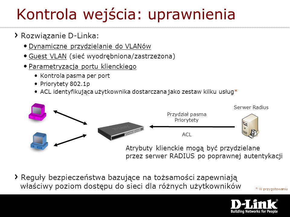 Rozwiązanie D-Linka: Dynamiczne przydzielanie do VLANów Guest VLAN (sieć wyodrębniona/zastrzeżona) Parametryzacja portu klienckiego Kontrola pasma per