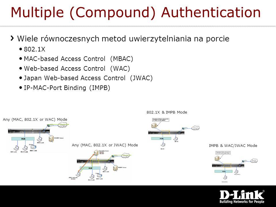 Multiple (Compound) Authentication Wiele równoczesnych metod uwierzytelniania na porcie 802.1X MAC-based Access Control (MBAC) Web-based Access Contro
