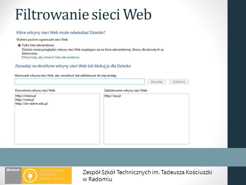 Zespół Szkół Technicznych im. Tadeusza Kościuszki w Radomiu Filtrowanie sieci Web