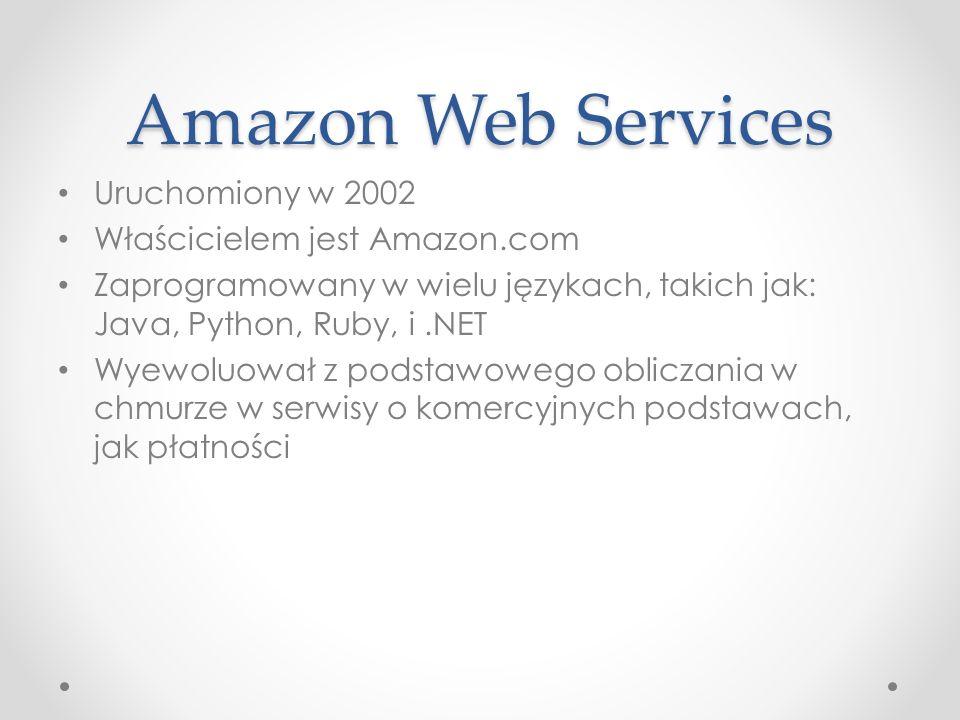 Uruchomiony w 2002 Właścicielem jest Amazon.com Zaprogramowany w wielu językach, takich jak: Java, Python, Ruby, i.NET Wyewoluował z podstawowego obliczania w chmurze w serwisy o komercyjnych podstawach, jak płatności