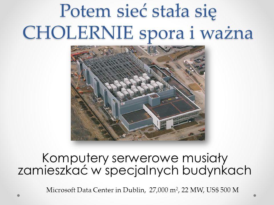 Potem sieć stała się CHOLERNIE spora i ważna Komputery serwerowe musiały zamieszkać w specjalnych budynkach Microsoft Data Center in Dublin, 27,000 m 2, 22 MW, US$ 500 M