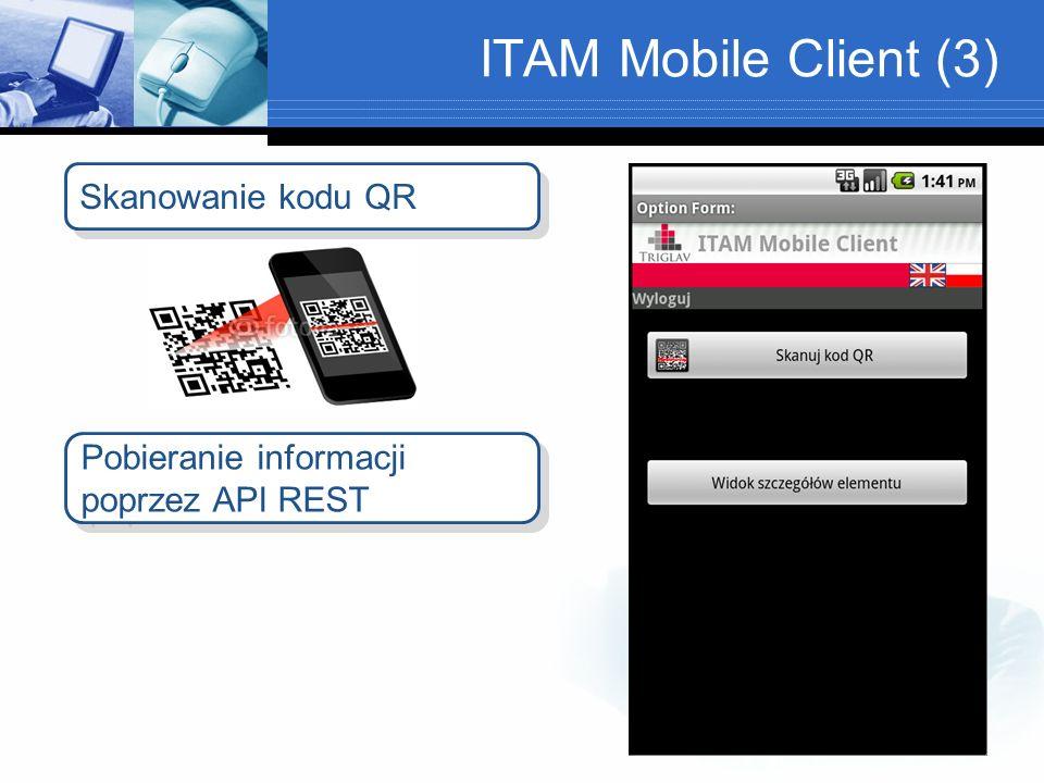 ITAM Mobile Client (3) Skanowanie kodu QR Pobieranie informacji poprzez API REST Pobieranie informacji poprzez API REST