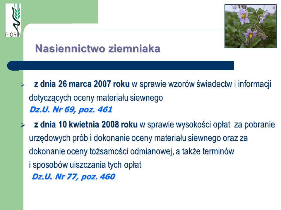 z dnia 26 marca 2007 roku w sprawie wzorów świadectw i informacji dotyczących oceny materiału siewnego Dz.U. Nr 69, poz. 461 z dnia 26 marca 2007 roku