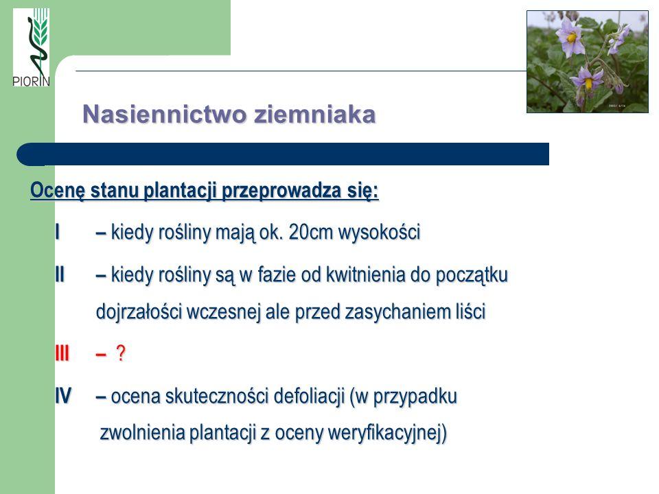 Nasiennictwo ziemniaka Ocenę stanu plantacji przeprowadza się: I– kiedy rośliny mają ok. 20cm wysokości II– kiedy rośliny są w fazie od kwitnienia do