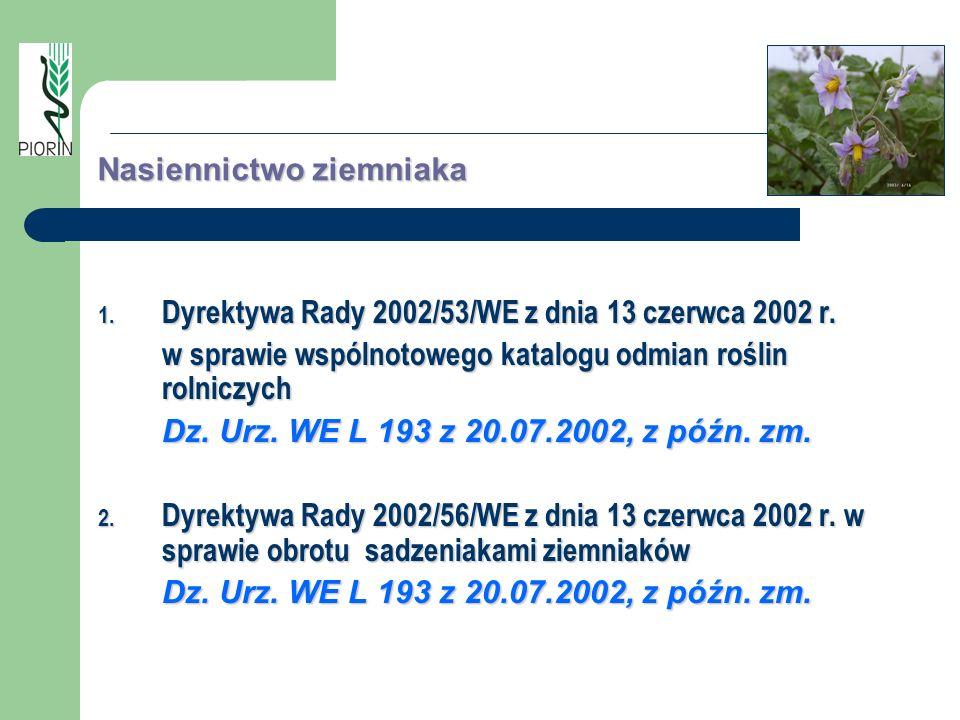 Nasiennictwo ziemniaka 1. Dyrektywa Rady 2002/53/WE z dnia 13 czerwca 2002 r. w sprawie wspólnotowego katalogu odmian roślin rolniczych Dz. Urz. WE L
