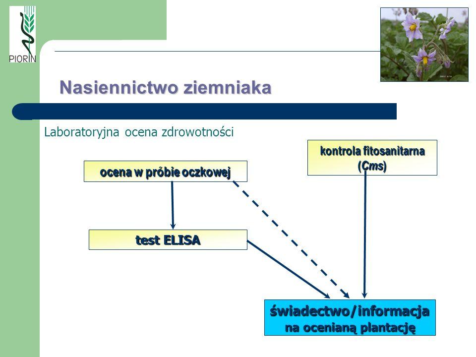 Laboratoryjna ocena zdrowotności ocena w próbie oczkowej test ELISA kontrola fitosanitarna ( Cms ) świadectwo/informacja na ocenianą plantację Nasienn