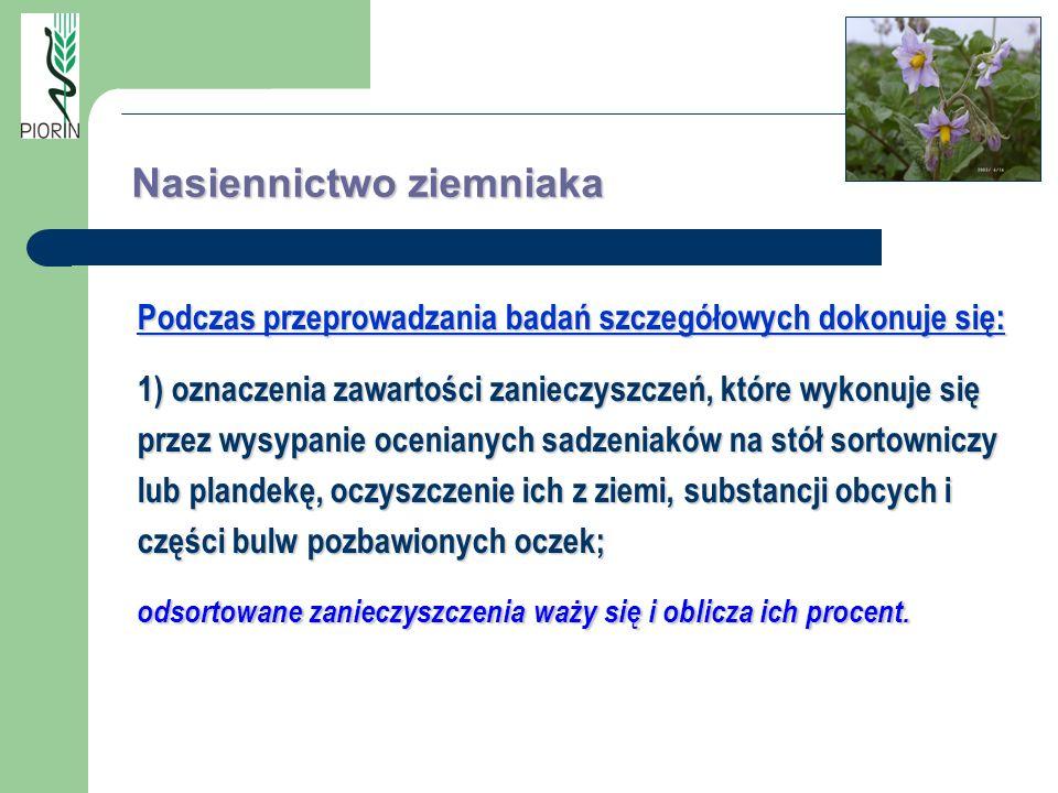 Podczas przeprowadzania badań szczegółowych dokonuje się: 1) oznaczenia zawartości zanieczyszczeń, które wykonuje się przez wysypanie ocenianych sadze