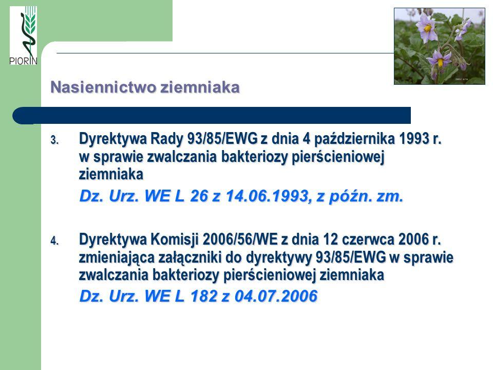Nasiennictwo ziemniaka 3. Dyrektywa Rady 93/85/EWG z dnia 4 października 1993 r. w sprawie zwalczania bakteriozy pierścieniowej ziemniaka Dz. Urz. WE
