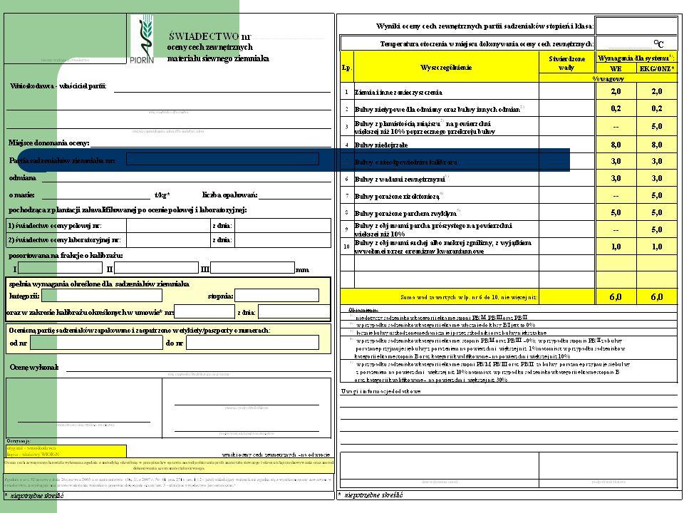 Nasiennictwo ziemniaka Rozporządzenie MRiRW z dnia 10 listopada 2006 r.