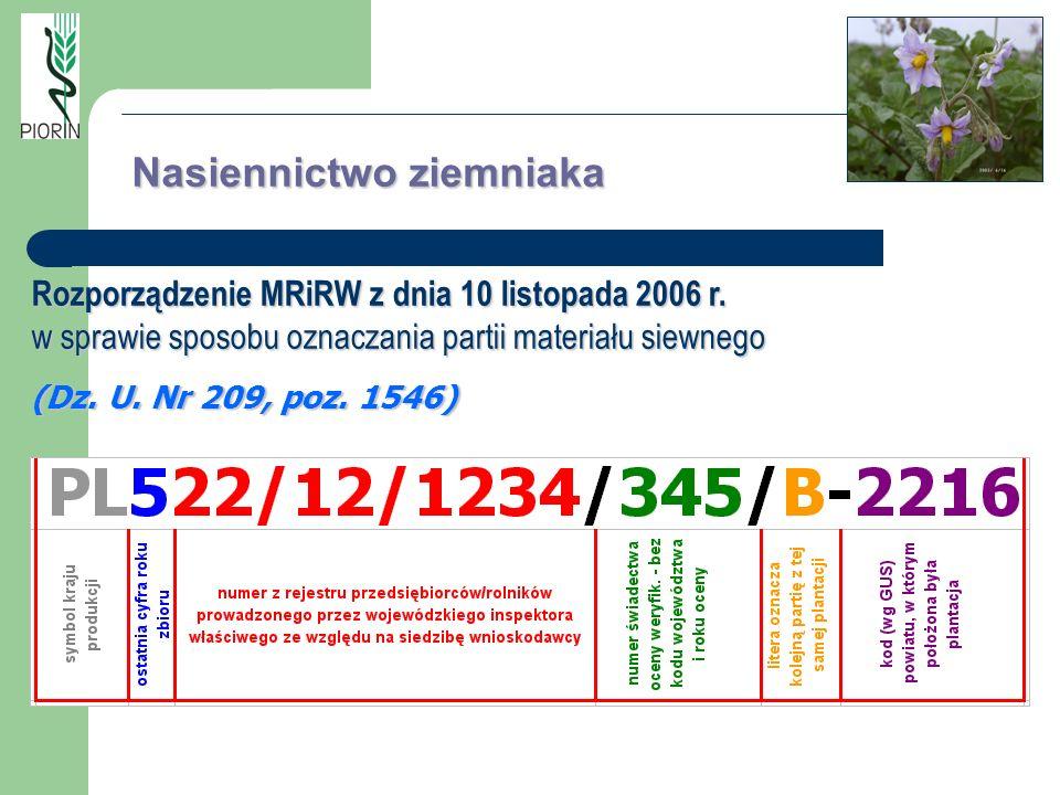 Nasiennictwo ziemniaka Rozporządzenie MRiRW z dnia 10 listopada 2006 r. w sprawie sposobu oznaczania partii materiału siewnego (Dz. U. Nr 209, poz. 15