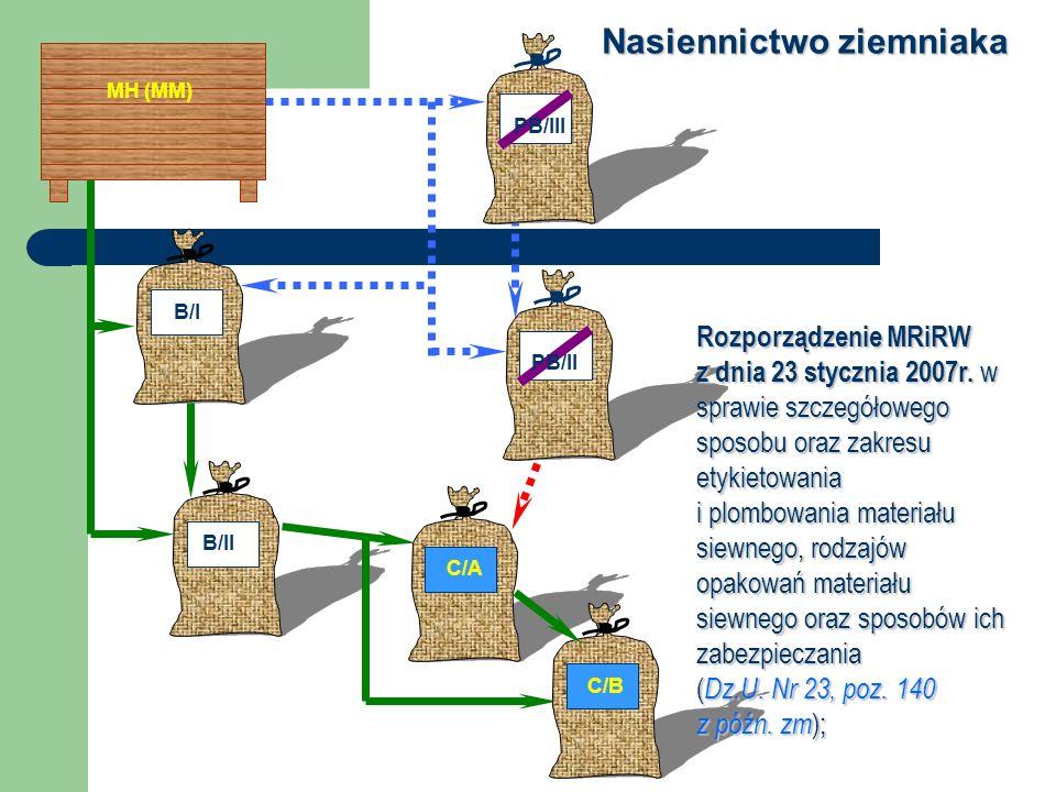 MH (MM) B/I B/II PB/III PB/II C/A C/B Nasiennictwo ziemniaka Rozporządzenie MRiRW z dnia 23 stycznia 2007r. w sprawie szczegółowego sposobu oraz zakre