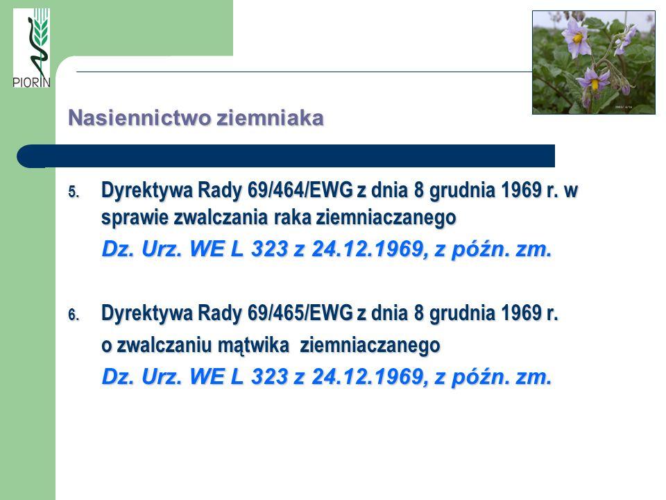 Nasiennictwo ziemniaka 5. Dyrektywa Rady 69/464/EWG z dnia 8 grudnia 1969 r. w sprawie zwalczania raka ziemniaczanego Dz. Urz. WE L 323 z 24.12.1969,