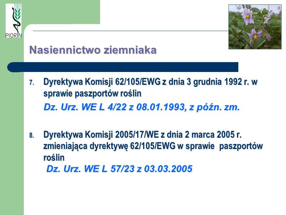 Nasiennictwo ziemniaka 7. Dyrektywa Komisji 62/105/EWG z dnia 3 grudnia 1992 r. w sprawie paszportów roślin Dz. Urz. WE L 4/22 z 08.01.1993, z późn. z