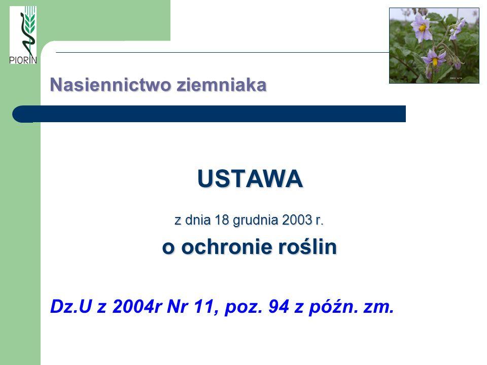 Nasiennictwo ziemniaka USTAWA z dnia 18 grudnia 2003 r. o ochronie roślin Dz.U z 2004r Nr 11, poz. 94 z późn. zm.