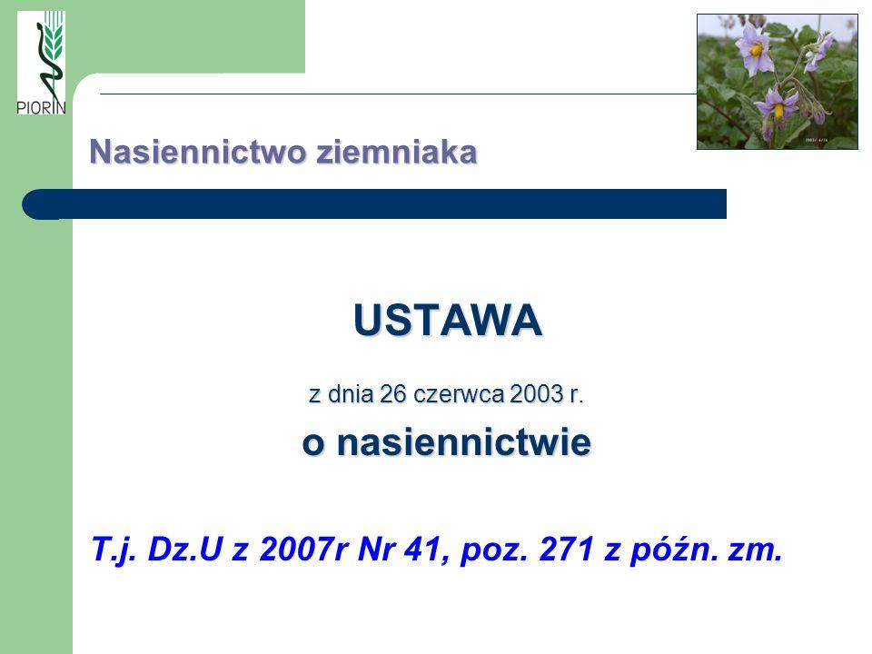 Nasiennictwo ziemniaka USTAWA z dnia 26 czerwca 2003 r. o nasiennictwie T.j. Dz.U z 2007r Nr 41, poz. 271 z późn. zm.