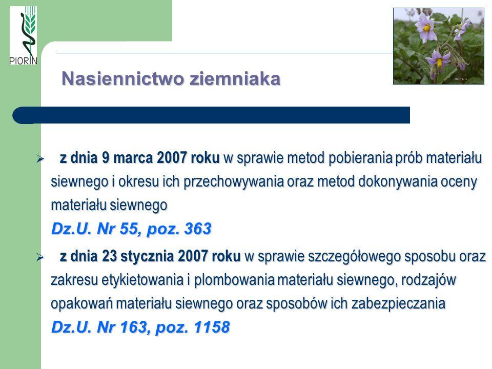z dnia 9 marca 2007 roku w sprawie metod pobierania prób materiału siewnego i okresu ich przechowywania oraz metod dokonywania oceny materiału siewneg