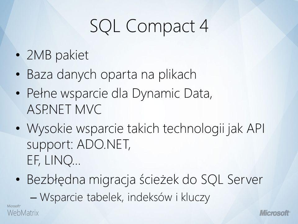 ASP.NET Web Pages & Razor Zasady Składni Minimalizm – Nie ma potrzeby zrozumienia OOP i klas – Proste ASPIs & Helpy (Dla wielu zadań) Gładkie przejście do ASP.NET MVC and Visual Studio Domyślnie zorientowane na SEO Brak wymaganych narzędzi działa przez prosty edytor tekstu