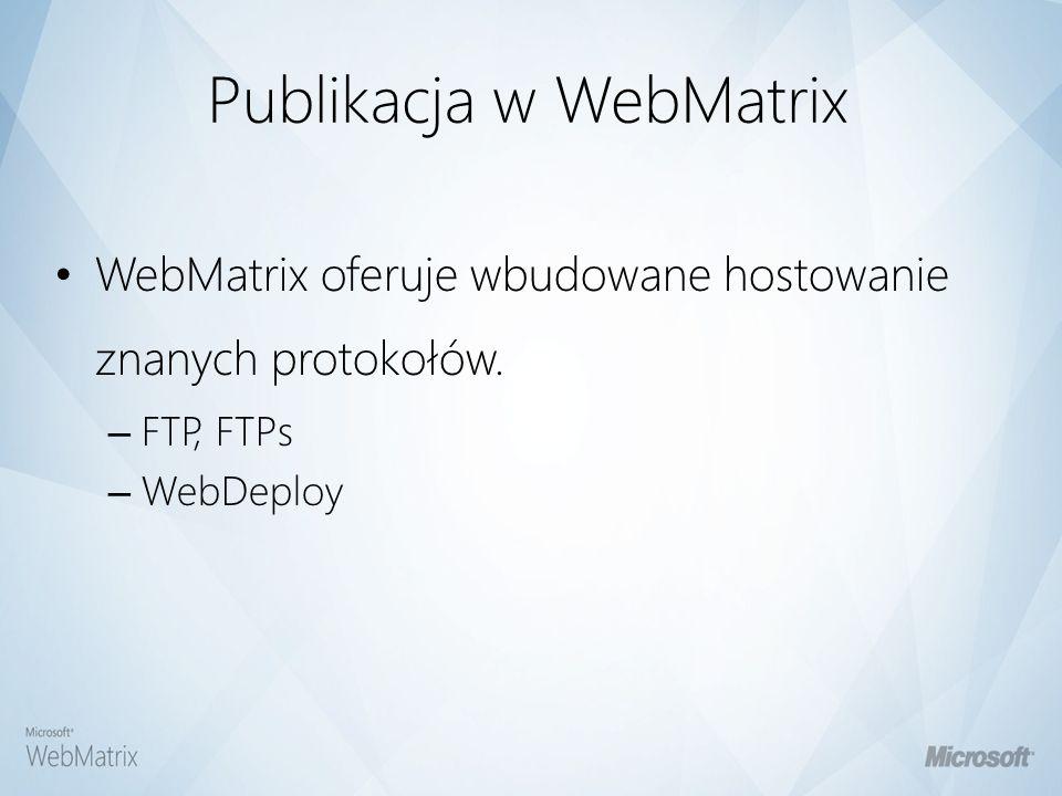 Demo II Budowanie strony używając WebMatrixa