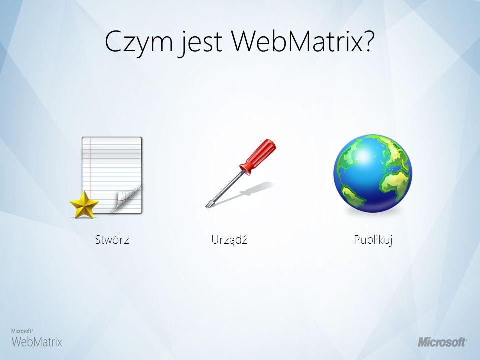 WebMatrix zawiera Web ServerDatabase Web Framework