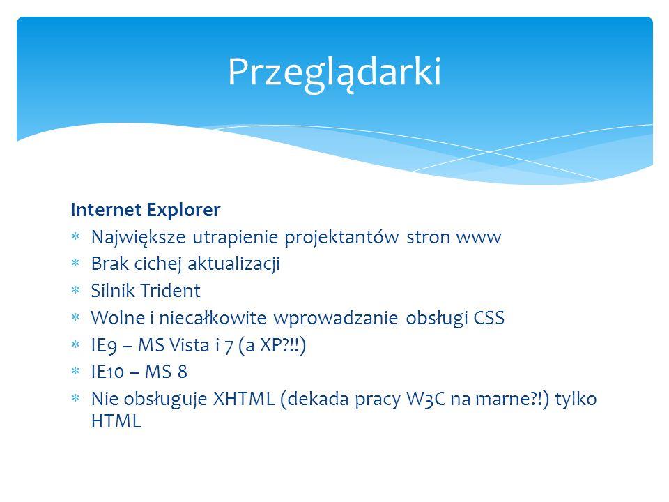 Internet Explorer Największe utrapienie projektantów stron www Brak cichej aktualizacji Silnik Trident Wolne i niecałkowite wprowadzanie obsługi CSS I
