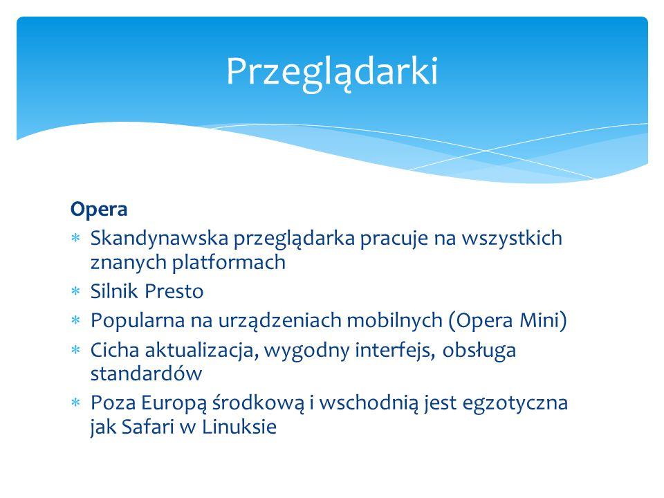 Opera Skandynawska przeglądarka pracuje na wszystkich znanych platformach Silnik Presto Popularna na urządzeniach mobilnych (Opera Mini) Cicha aktuali