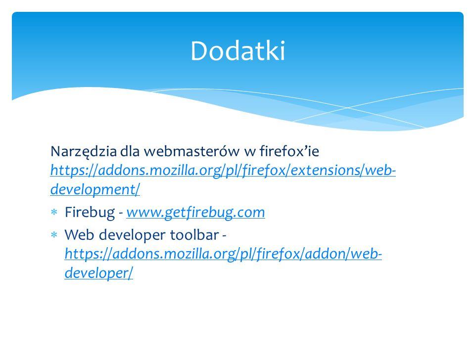 Narzędzia dla webmasterów w firefoxie https://addons.mozilla.org/pl/firefox/extensions/web- development/ https://addons.mozilla.org/pl/firefox/extensi