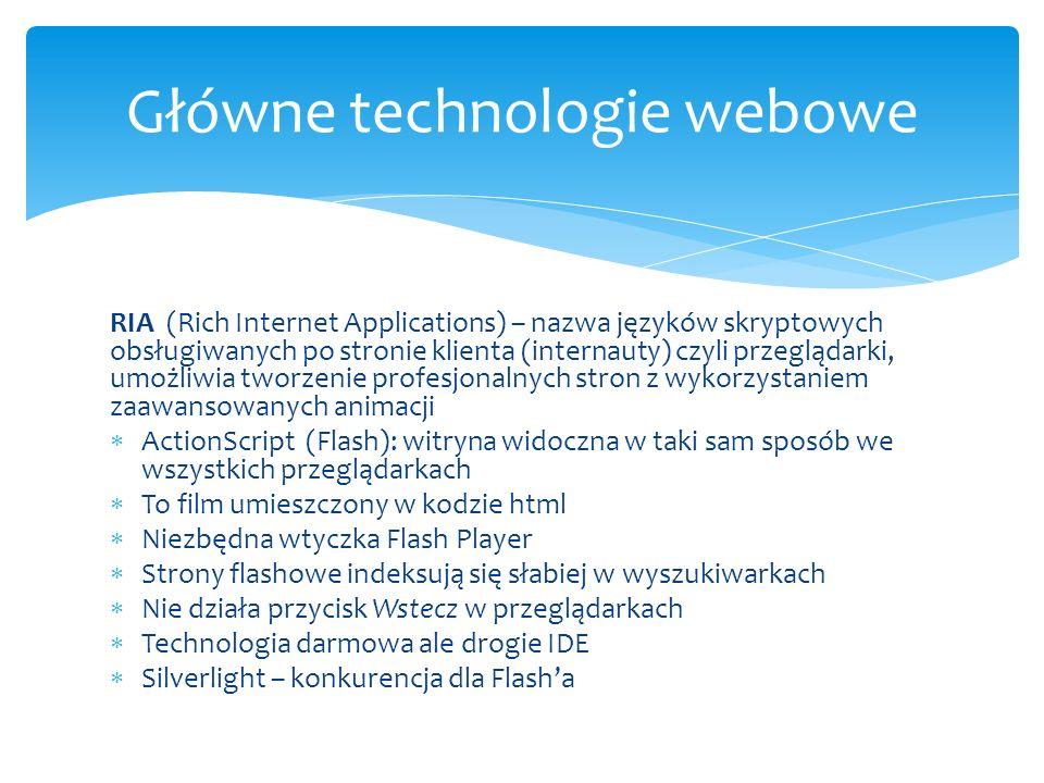 RIA (Rich Internet Applications) – nazwa języków skryptowych obsługiwanych po stronie klienta (internauty) czyli przeglądarki, umożliwia tworzenie pro