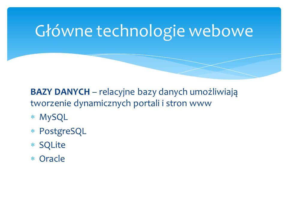 BAZY DANYCH – relacyjne bazy danych umożliwiają tworzenie dynamicznych portali i stron www MySQL PostgreSQL SQLite Oracle Główne technologie webowe