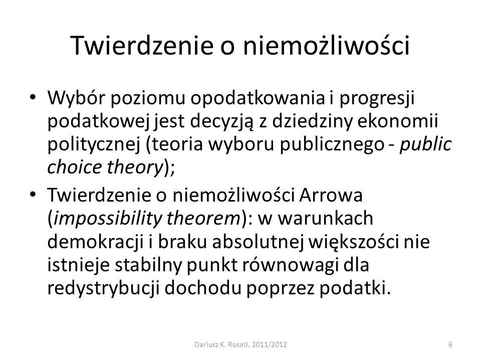 Twierdzenie o niemożliwości Wybór poziomu opodatkowania i progresji podatkowej jest decyzją z dziedziny ekonomii politycznej (teoria wyboru publiczneg