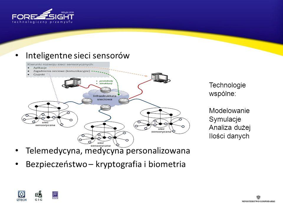 Inteligentne sieci sensorów Telemedycyna, medycyna personalizowana Bezpieczeństwo – kryptografia i biometria Technologie wspólne: Modelowanie Symulacje Analiza dużej Ilości danych