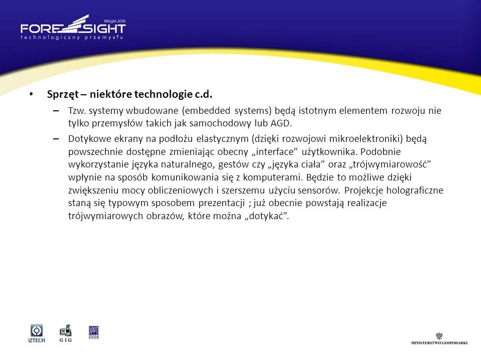 Sprzęt – niektóre technologie c.d.– Tzw.