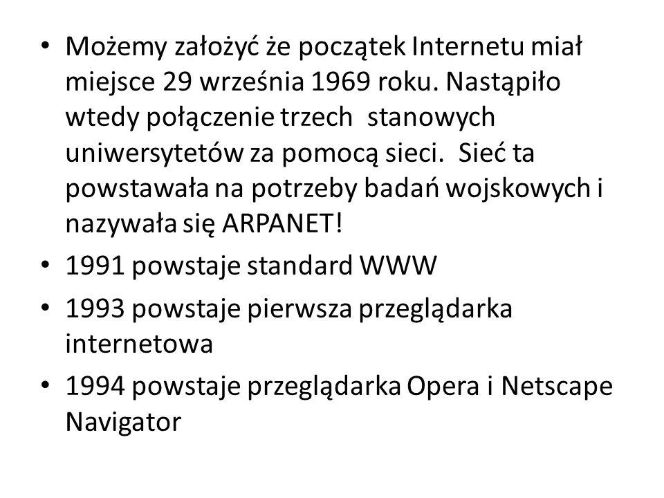 Możemy założyć że początek Internetu miał miejsce 29 września 1969 roku.