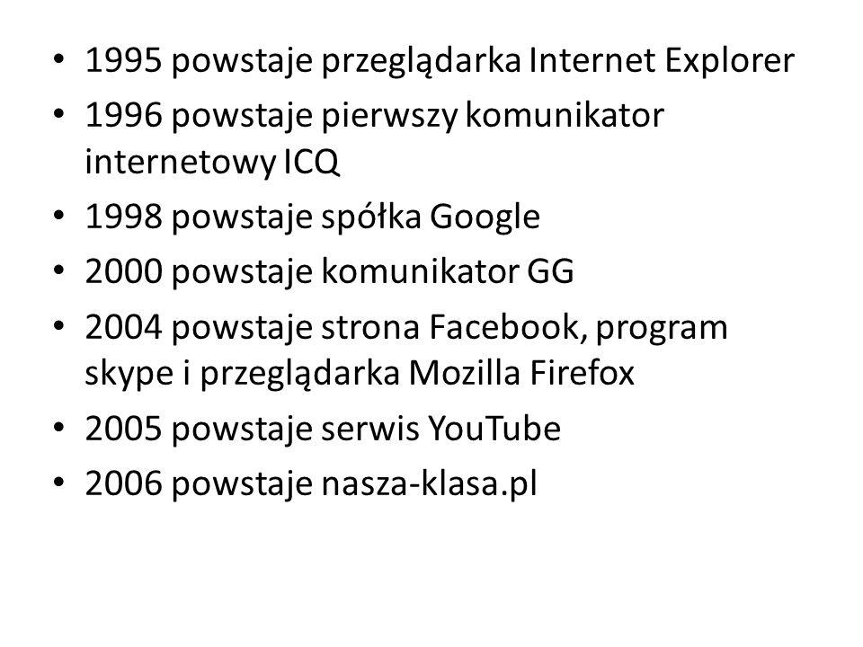 1995 powstaje przeglądarka Internet Explorer 1996 powstaje pierwszy komunikator internetowy ICQ 1998 powstaje spółka Google 2000 powstaje komunikator GG 2004 powstaje strona Facebook, program skype i przeglądarka Mozilla Firefox 2005 powstaje serwis YouTube 2006 powstaje nasza-klasa.pl