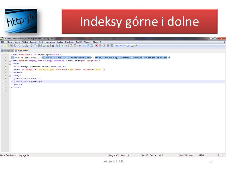 Indeksy górne i dolne 20Lekcje XHTML