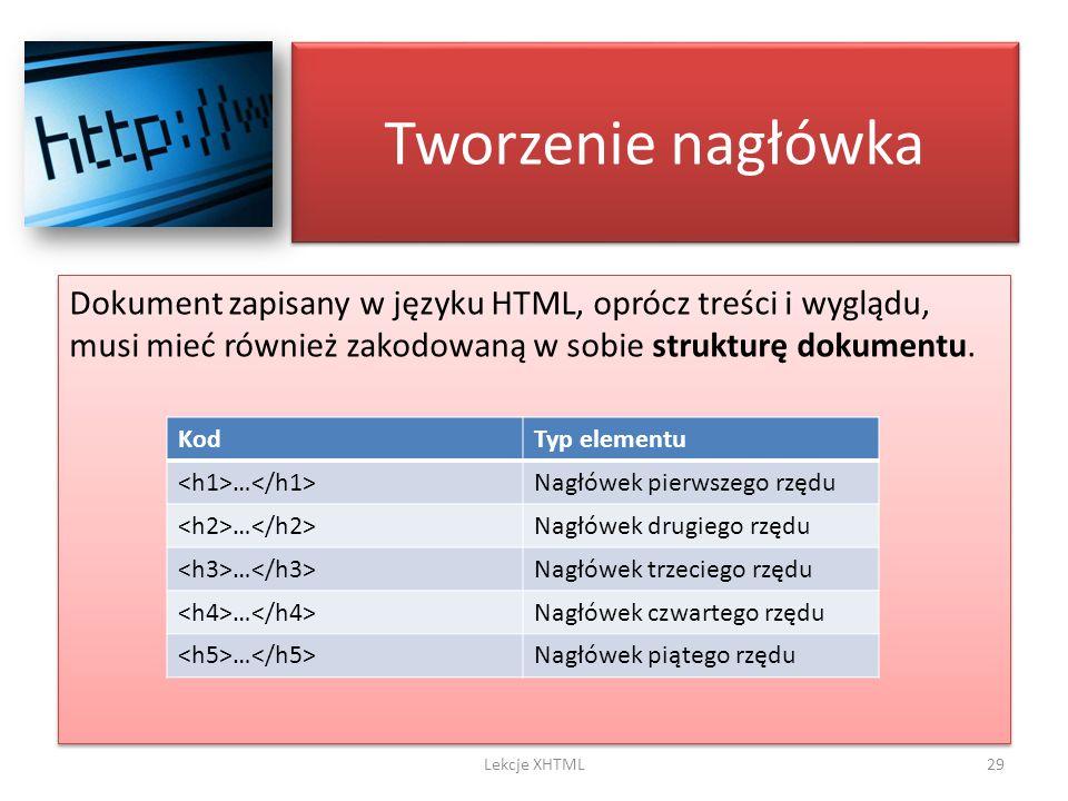 Tworzenie nagłówka Dokument zapisany w języku HTML, oprócz treści i wyglądu, musi mieć również zakodowaną w sobie strukturę dokumentu. 29Lekcje XHTML