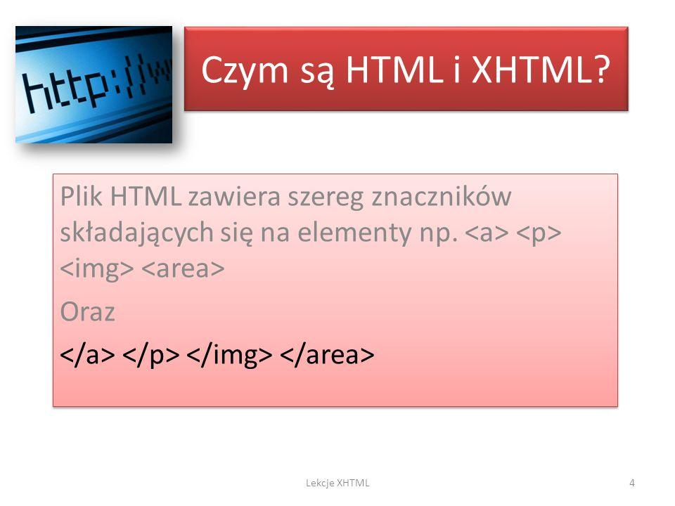 Czym są HTML i XHTML? Plik HTML zawiera szereg znaczników składających się na elementy np. Oraz Plik HTML zawiera szereg znaczników składających się n