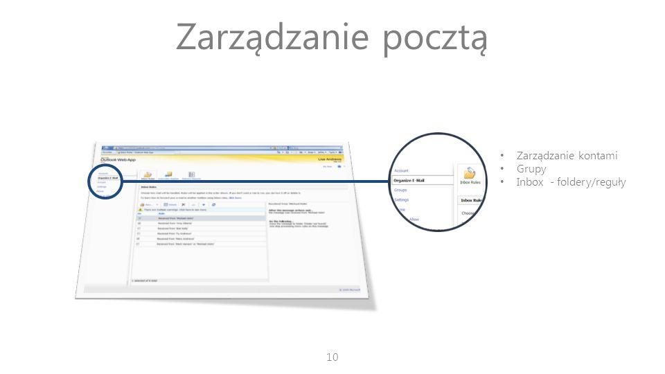 Zarządzanie pocztą Zarządzanie kontami Grupy Inbox - foldery/reguły 10