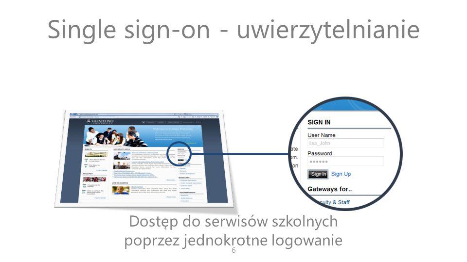 Single sign-on - uwierzytelnianie Dostęp do serwisów szkolnych poprzez jednokrotne logowanie 6