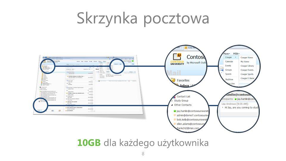 Skrzynka pocztowa 10GB dla każdego użytkownika 8