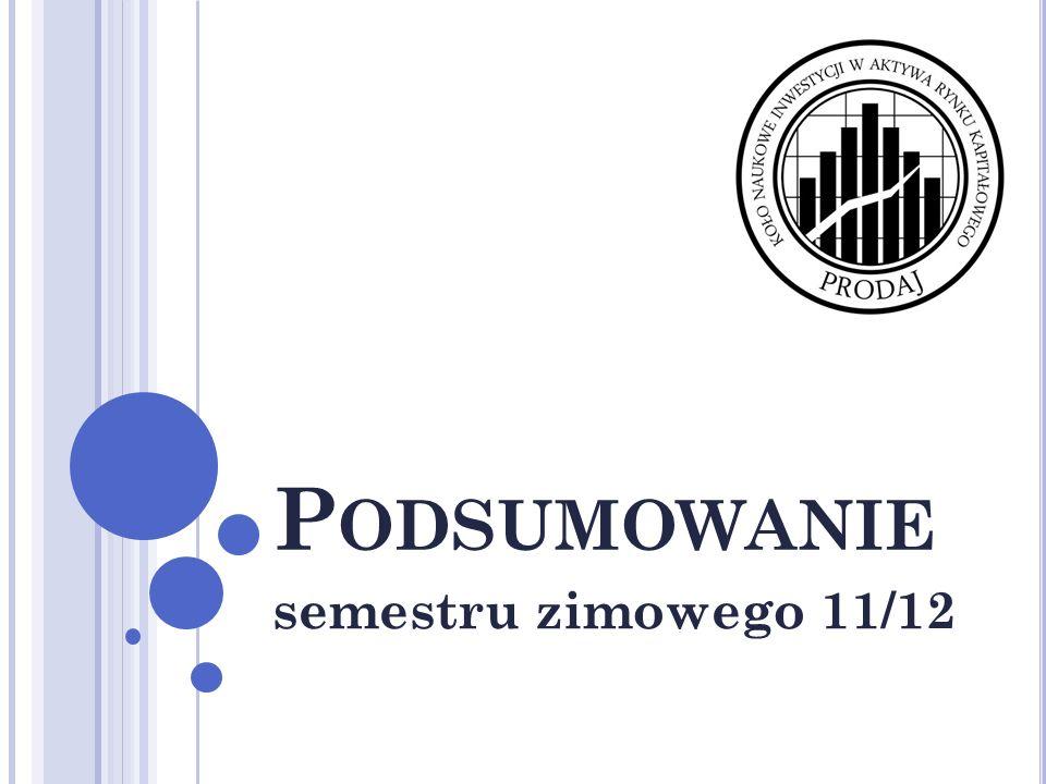 S EMESTR ZIMOWY 11/12 Cykliczne spotkania: 27 października – Spotkanie inauguracyjne, sprawy organizacyjne, podstawowe zagadnienia inwestycyjne, 4 listopada – Analiza Techniczna, rynek równoległy Newconnect, korelacje Newconnect z GPW, 18 listopada – Analiza sprawozdań finansowych spółek akcyjnych, 25 listopada – Analiza Strefy Euro, Instrumenty Pochodne, 2 grudnia – Analiza Finansowa, Finanse Behawioralne, 9 grudnia – Praktyczne aspekty inwestowania (sala informatyczna), 15 grudnia – analiza rynków.