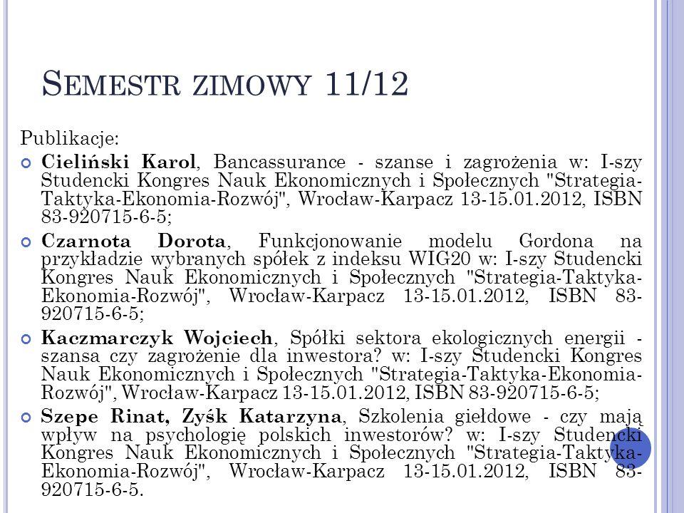 Publikacje: Cieliński Karol, Bancassurance - szanse i zagrożenia w: I-szy Studencki Kongres Nauk Ekonomicznych i Społecznych