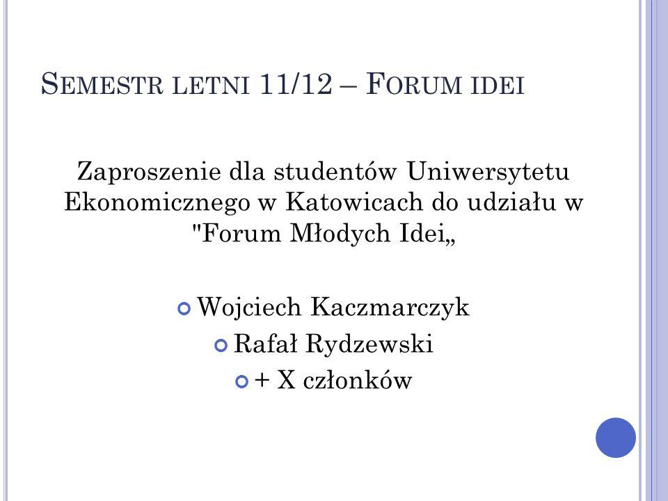 S EMESTR LETNI 11/12 – F ORUM IDEI Zaproszenie dla studentów Uniwersytetu Ekonomicznego w Katowicach do udziału w