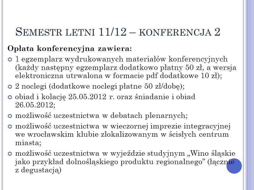 S EMESTR LETNI 11/12 – KONFERENCJA 2 Opłata konferencyjna zawiera: 1 egzemplarz wydrukowanych materiałów konferencyjnych (każdy następny egzemplarz do